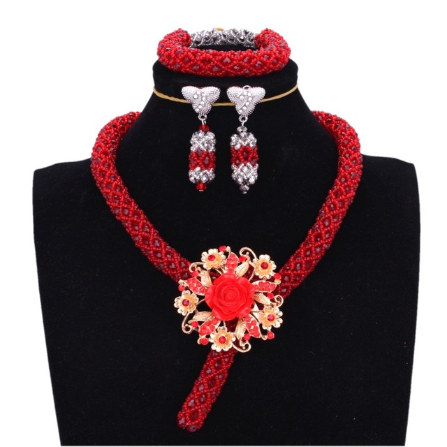African Wedding Jewelry Sets Red Nigerian Necklace Sets For Women With Crystal Pin One Layer Bridal Beads Set Free Shipping 2018