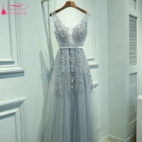 V Neck Long Lace Appliques Prom Dresses Pleated Tulle A Line Pink Gray Red Evening Prom