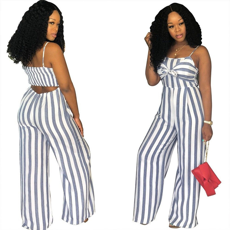 Sexy Women Blue Red Stripe Jumpsuit Bandage Stappy Long Romper Plus Size Jumpsuit Trousers Casual Fashion Streetwear Outfits