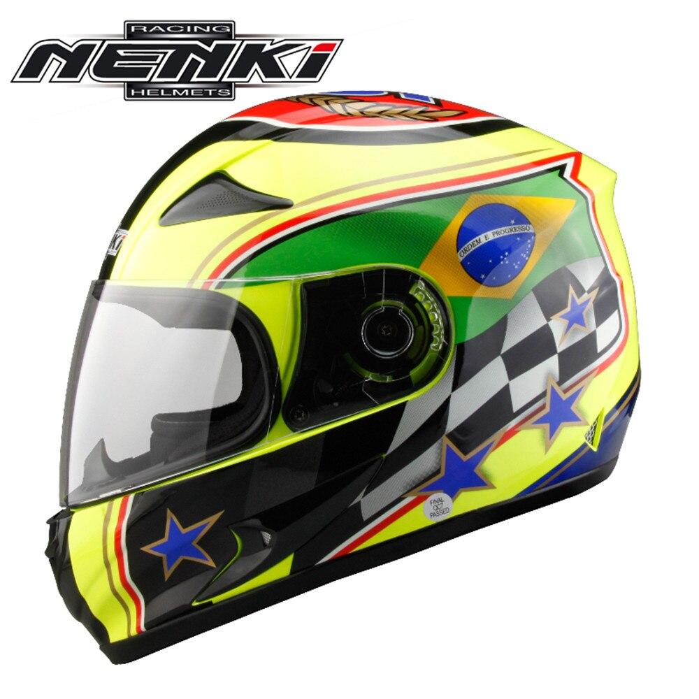 NENKI Full Face Motorcycle Helmet Capacete da Motocicleta Cascos Moto Casque Kask 816z Racing Riding Men Women Helmet with Scarf
