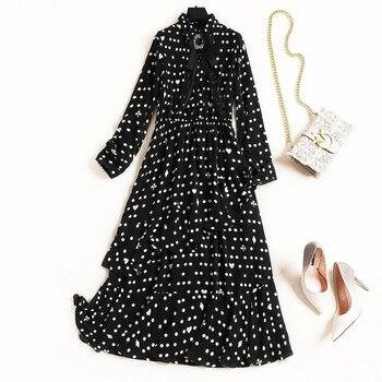 feb0f5edb5 Las mujeres de gasa manga larga vestido largo negro geométrico blanco polka  dot imprimir volantes vestidos de Primavera de 2019
