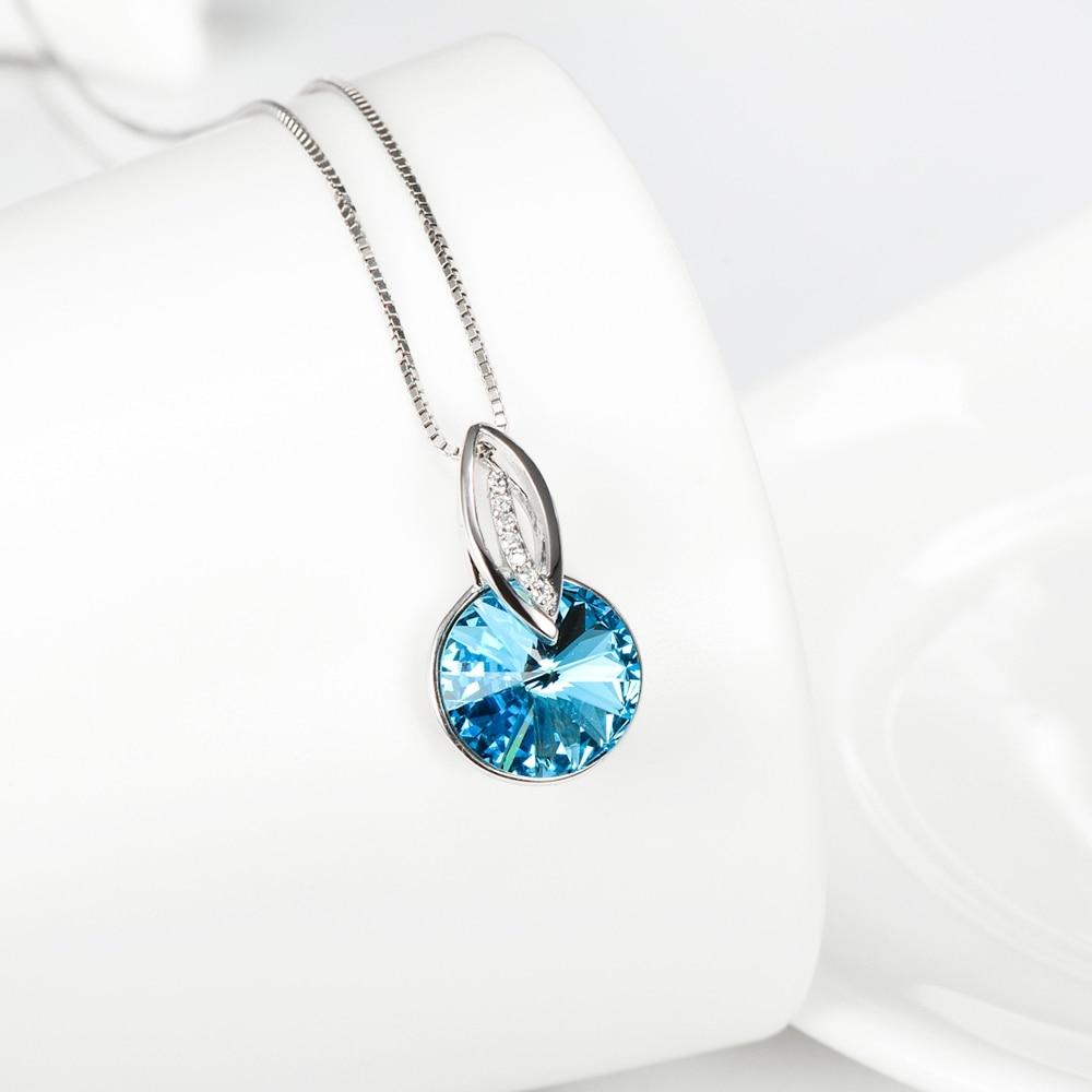 925 sterling silber schmuck sky blue kristall rund minimalistischen - Edlen Schmuck - Foto 4