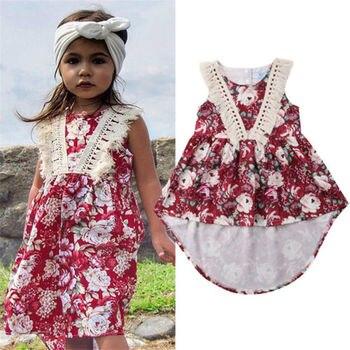 2018 Baby Girl dress o neck summer sleeveless red dress tassel child kid a line cute vestidos