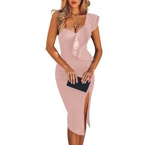 Image 2 - Ocstrade新到着 2020 女性ワンショルダー包帯ドレスエレガントなフリル赤包帯ドレスボディコンセクシーなパーティーナイトクラブドレス