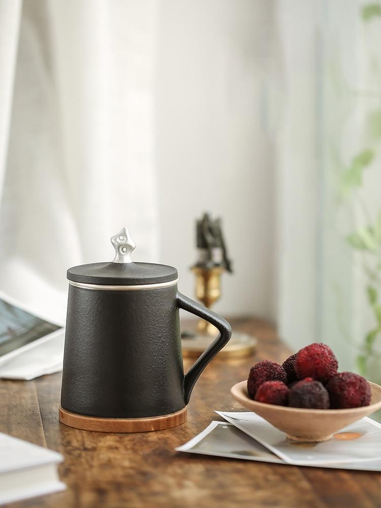 TANGPIN 999 silber und keramik tee becher mit filter schwarz chinesischen kung fu tasse 310 ml