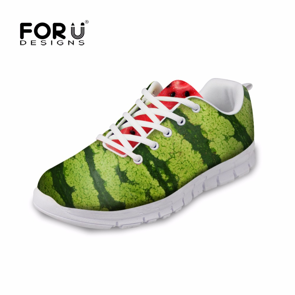 FORUDESIGNS 2018 Autumn Women's Lace-up Flat Shoes Fashion 3D Fruits Printed Women Light Mesh Shoes Female Students Casual Shoes forudesigns asl hand sign printed women beach water shoes spring summer casual walking flat shoes for female light mesh sneakers