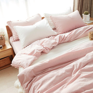 Image 4 - Wihte Pink Bedding Sets With Washed Ball Decorative Microfiber Fabric Queen King Duvet Cover Pillowcase Comfortable