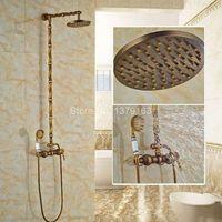 Vintage Retro Antique Brass Wall Mounted Bathroom Rain Shower Faucet Set Single Handle Mixer Tap W