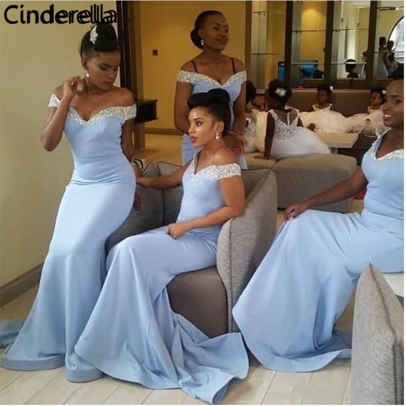 Cinderella Baby Blue V-Neck Sleeveless Floor Length Crystal Beading Satin Mermaid Bridesmaid Dresses Wedding Party Dresses