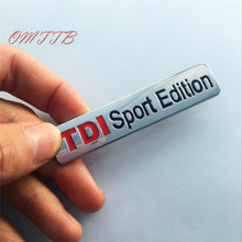 3D Metal TDI Sport Edition Car Emblem Badge Decal Turbo Direct Injection Car Sticker for VW GOLF CC TT GTI TOUAREG car styling