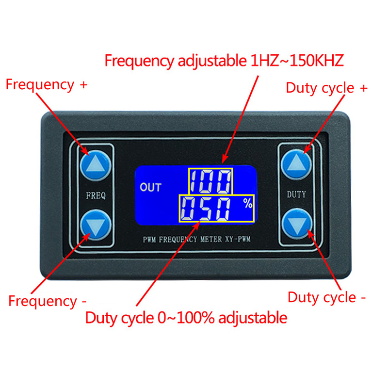 1HZ~150KHZ Signal Generator Digital Display PWM Pulse Frequency Duty Ratio Adjustable Square Wave Rectangular Signal Generator kwx03 square wave signal source frequency dutycycle adjustable 0 1hz 34khz digital display
