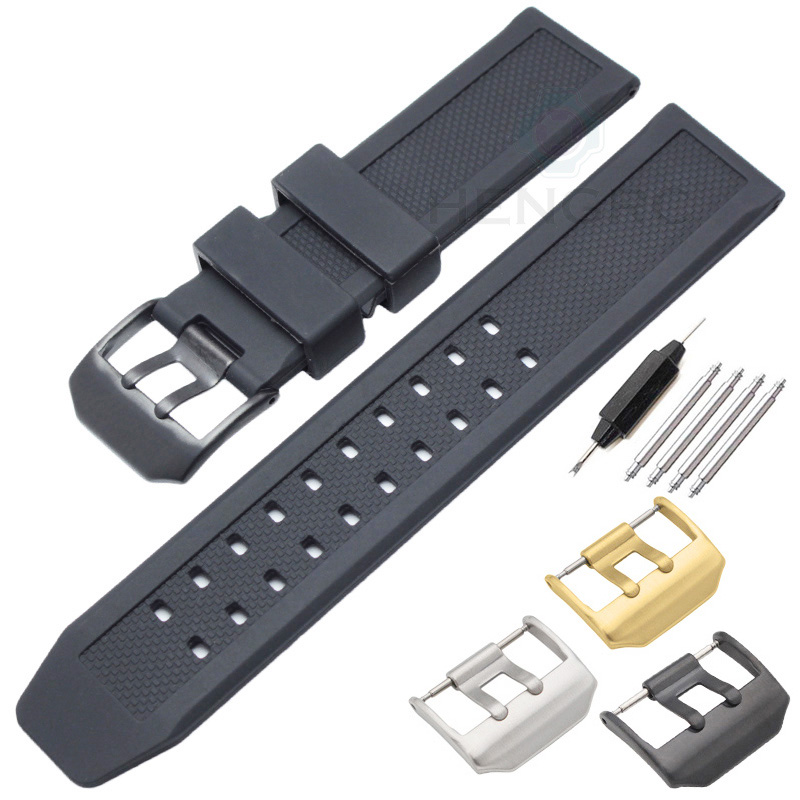 Watch Band Strap 23mm Silicone Men Black Sport Diving Silicone Rubber Watchbands Stainless Steel Buckle Accessories hengrc rubber watch band men 22mm soft diving black silicone sport strap belt with steel metal pin buckle accessories