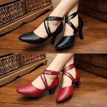 Ballroom Dance Shoe Brand Women Upscale Genuine Leather Latin Dancing Sneakers Closed Toe Adult Aerobics Sports Jazz Shoes 7005
