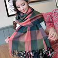2016 Womens Scarf Long Fashion Casual Warm Cashmere Shawl Plaid Scarf Knitted Scarf Women Winter Scarves Hot