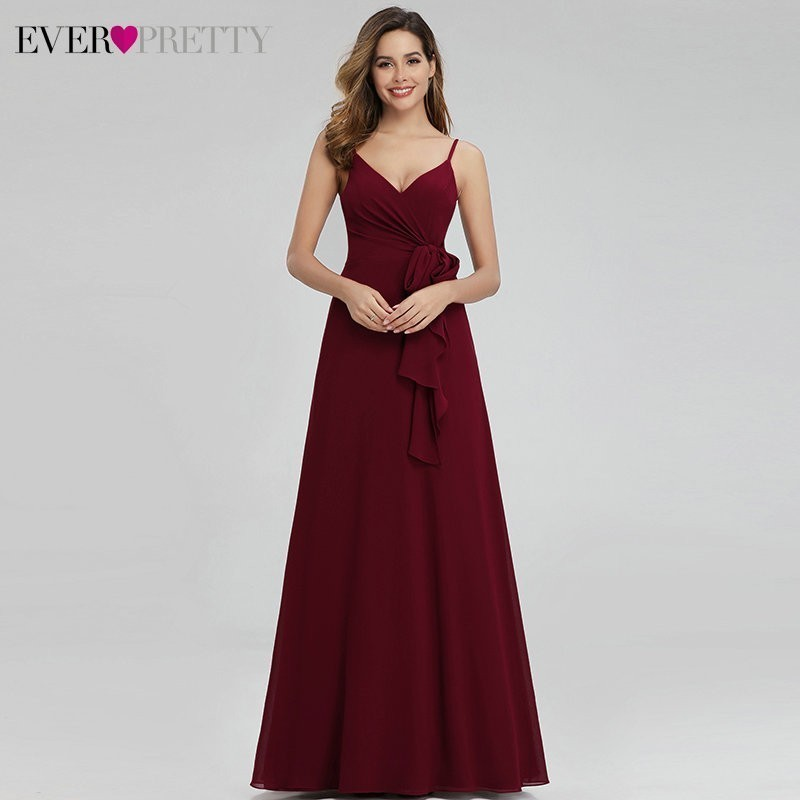 Ever Pretty Elegant Burgundy Bridesmaid Dresses Long A-Line V-Neck Spaghetti Straps Long Wedding Guest Dresses Vestido Madrinha