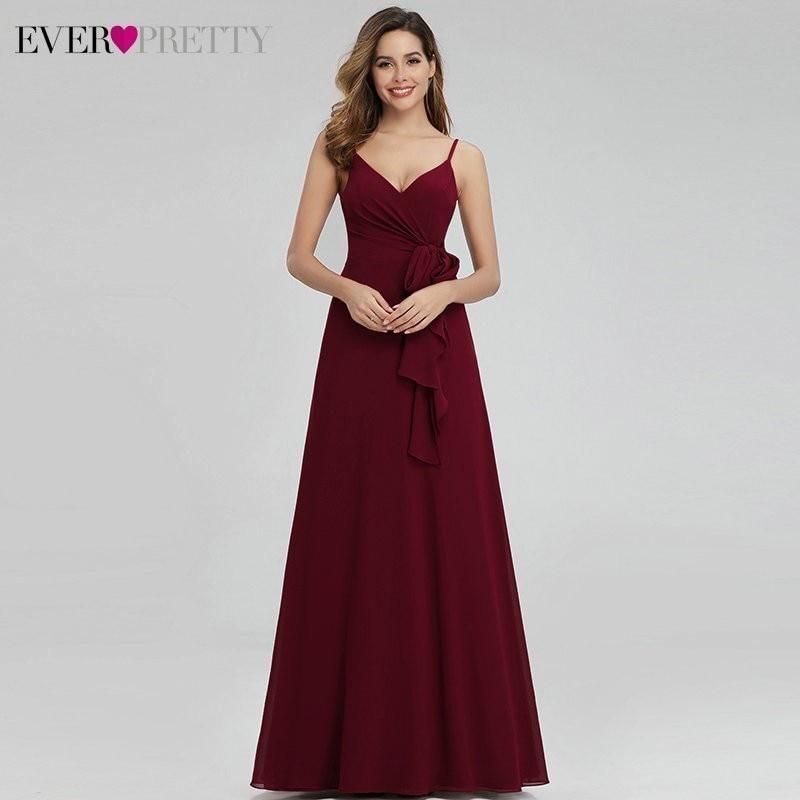 Ever Pretty Elegant Burgundy Bridesmaid Dresses Long A-Line V-Neck Spaghetti Straps Long Wedding Guest Dresses Vestido Madrinha