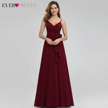 Ever Pretty Elegant Burgundy Bridesmaid Dresses Long A-Line V-Neck Spa