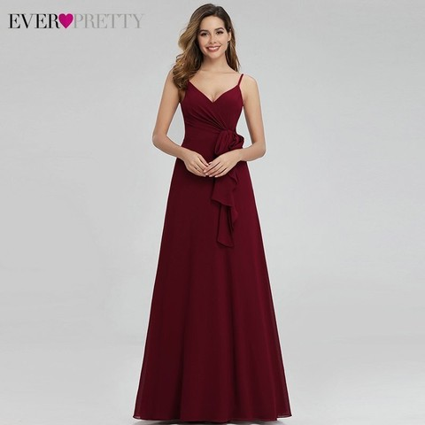 Ever Pretty Elegant Burgundy Bridesmaid Dresses Long A-Line V-Neck Spaghetti Straps Long Wedding Guest Dresses Vestido Madrinha Pakistan
