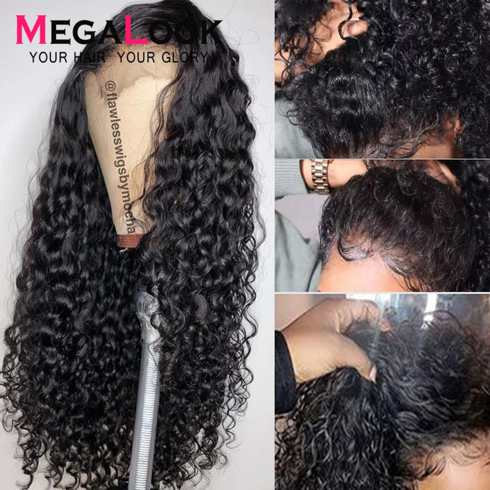 Short Lace Front Human Hair Wigs Water Wave Human Hair Wig Malaysian Remy Hair Wavy Swiss Lace Wigs For Women Megalook