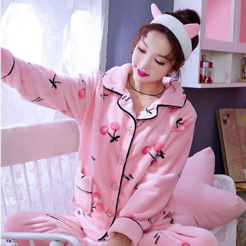 Pyjamas femmes épaissi vêtements de nuit en flanelle costume maison vêtements fille corail polaire automne hiver à manches longues mignon chemise de nuit H5631