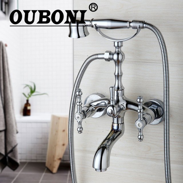 install bathroom sink faucet. OUBONI Shower Set Chrome Telephone Install Bathroom Sink Faucet Bathtub Basin Mixer Tap With Hand