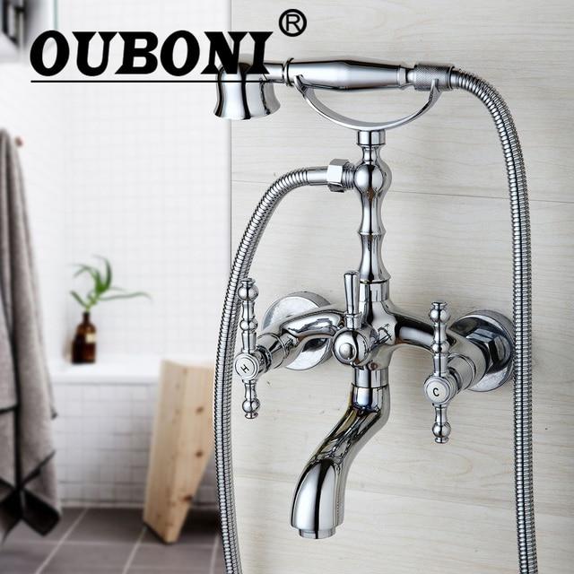 OUBONI Shower Set Chrome Telephone Install Bathroom Sink Faucet ...