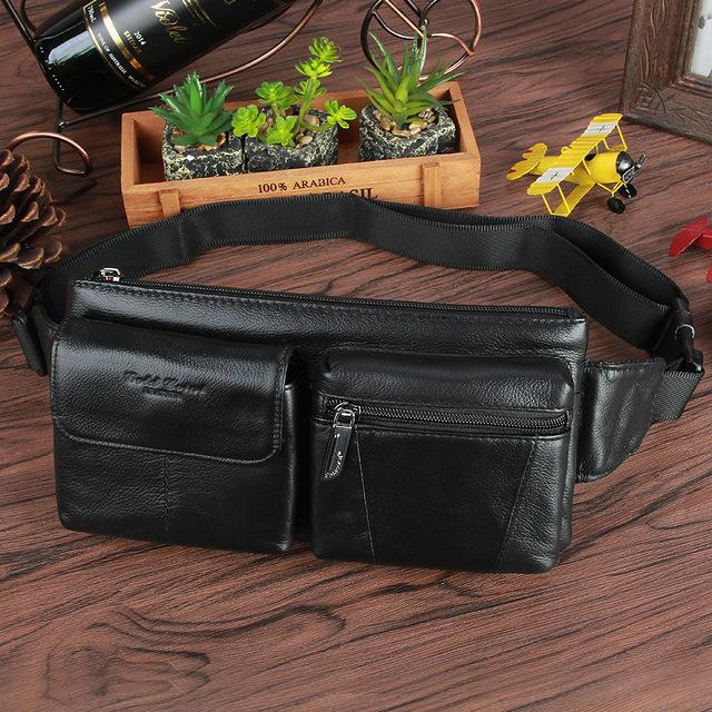 2017 LA VENTA CALIENTE Nuevo diseño de marca de moda Casual de cuero genuino negro brown bolso de la Cintura L085