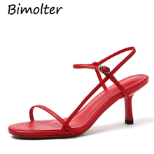 Bimolter Women Sexy Sandals Cow Leather Narrow Band Shoes Gladiator High Thin Heel Summer Pattern Party FB029