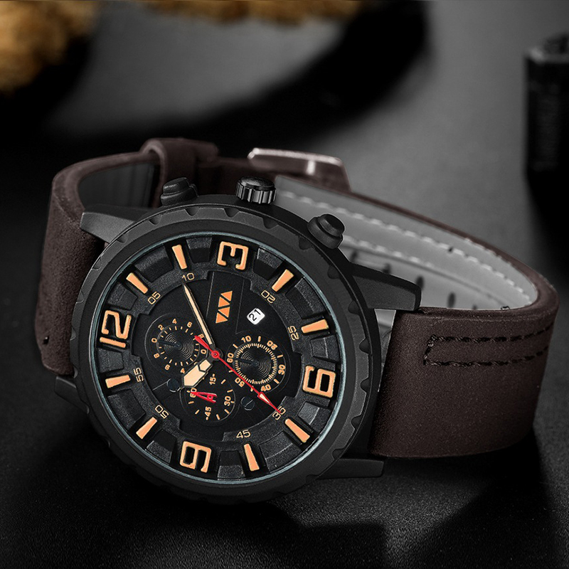 2019 New Mens Watches Top Brand Luxury Quartz Watch Leather Waterproof Military Clock Fashion Sports Watch Men Relogio Masculino