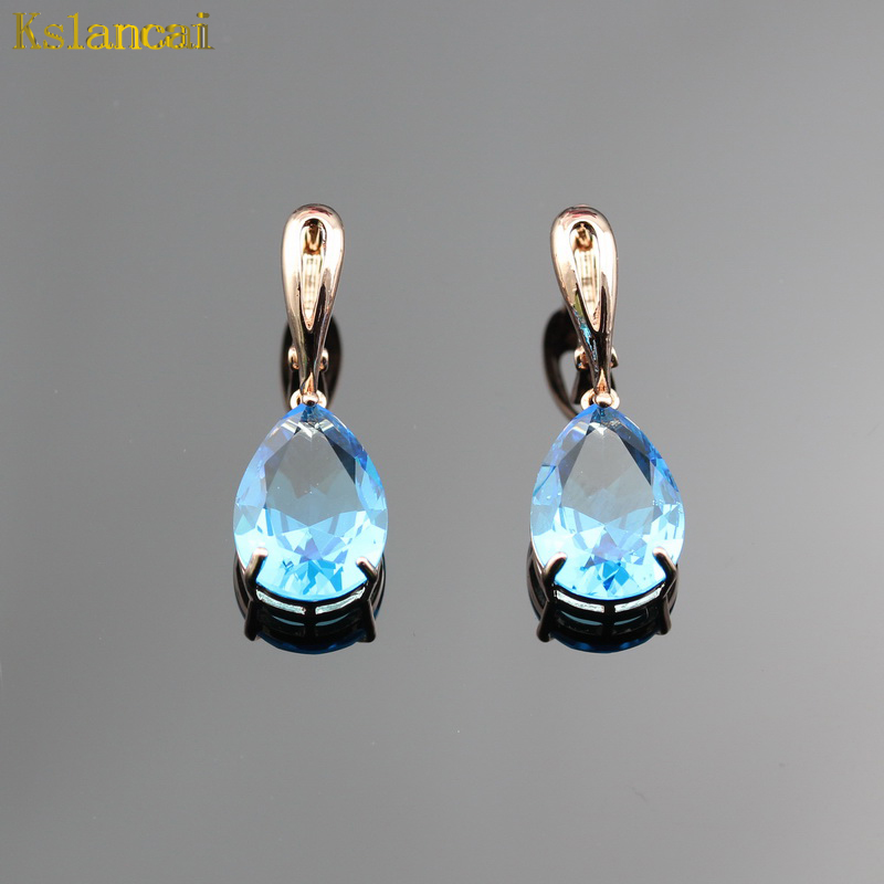Lan Classic Hot-Selling Rose Gold Jewelry Water Drop Shaped Earrings For Women Free Shipping Sea Blue AAA Zircon Earrings Sets ...