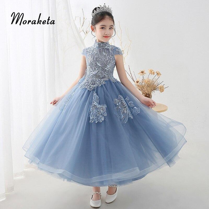 Vintage High Neck Floor-Length Long Princess   Girls   Pageant   Dresses   2019 Sequined Appliques Ball Gown Blue   Flower     Girl     Dresses