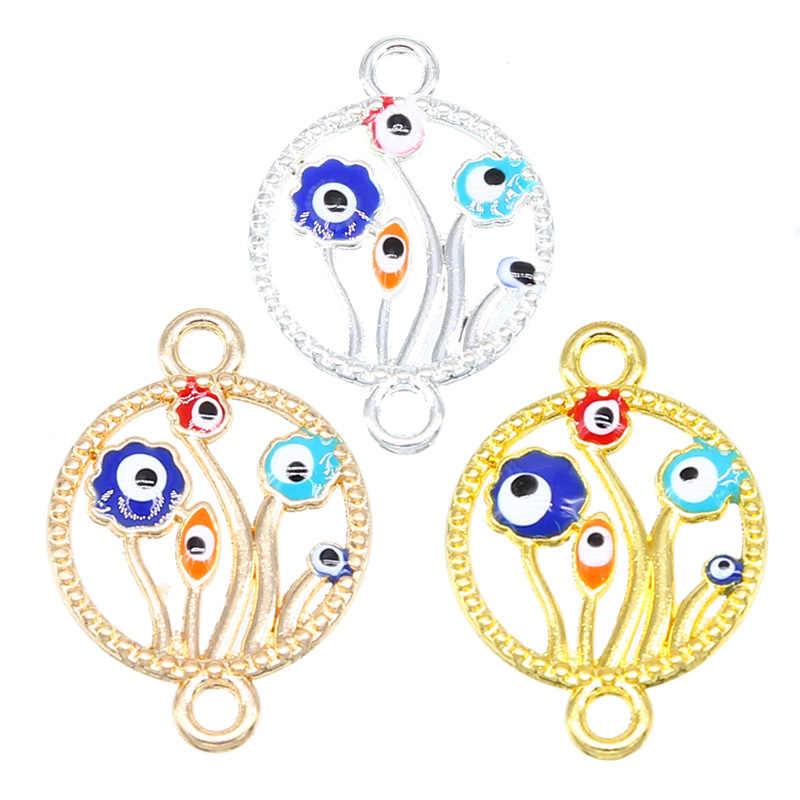 6 pièces coeur forme arbre de vie chanceux icône neuf Types de turquie oeil bijoux accessoires bijoux collier Bracelet connecteur