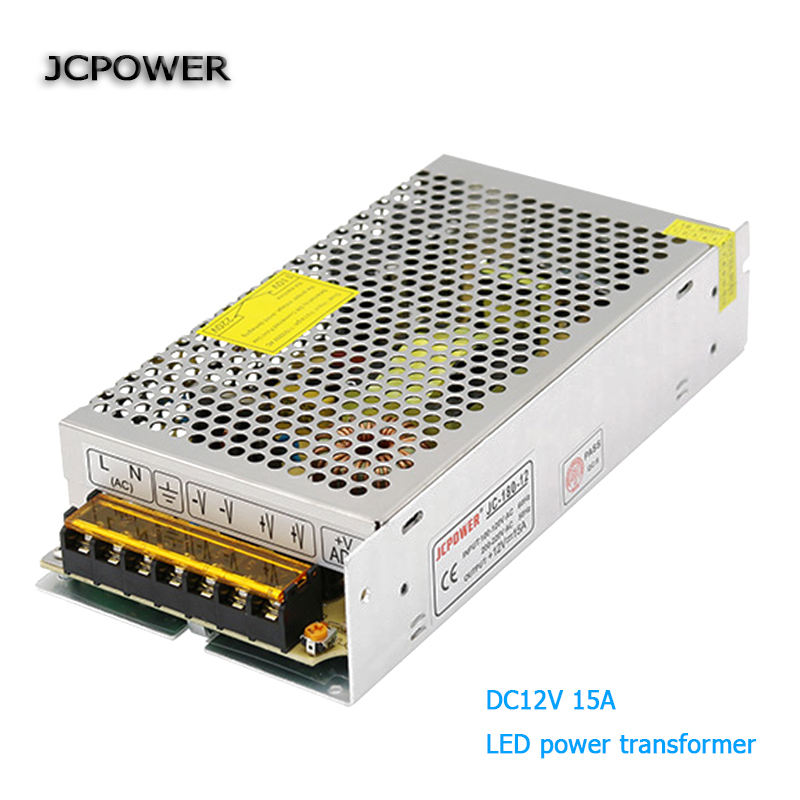 JC Мощность 15A 180 Вт освещения Трансформаторы 110 220 AC/DC 12 В переключатель Питание адаптер конвертер для полосы свет драйвер