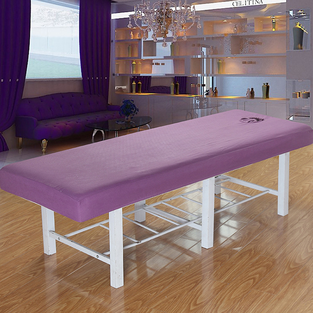 Professional Washable Acupuncture Massage Table Bed Protective Fitted Pad Sheet Cover Purple White