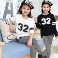 Дети весна 2016 новые большие девственные девушки спортивный костюм ребенок осень двух частей случайный с длинными рукавами одежды для девочек 3-14 лет 2