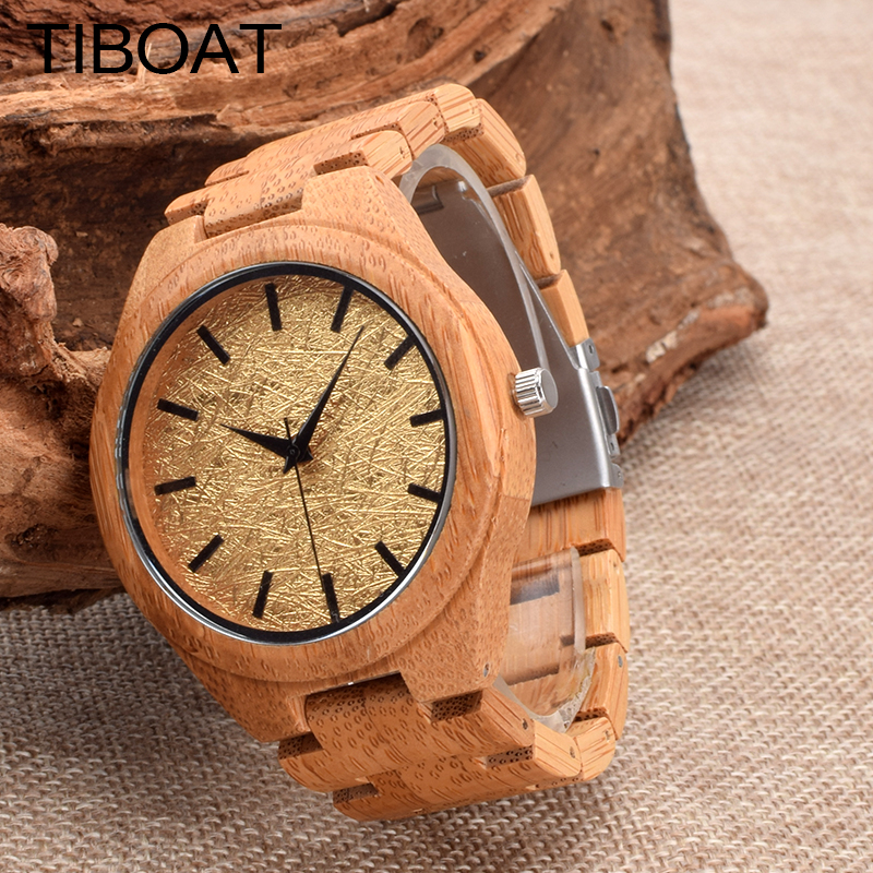 TIBOAT Luxury Wood Watches for Men Charm Quartz Watch Wooden WristWatch Male Simple Bamboo Strap Design relogio masculino Gift brand light wood watch for men luxury natural bamboo wooden mens watches gifts japan quartz movt watch male relogio masculino