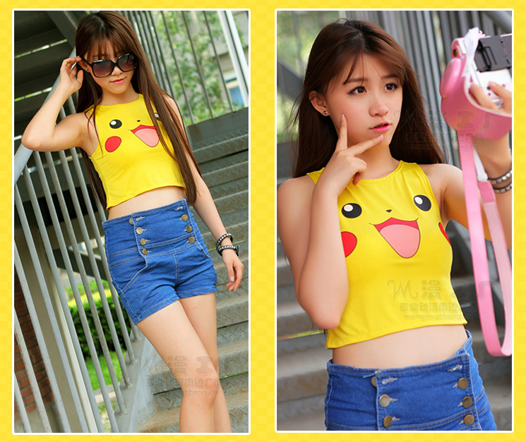 Janpanese anime cosplay Pikachu costumes crop top for women summer style cotton t shirt shorts suit
