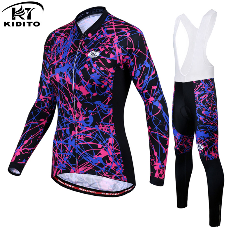 KIDITOKT Woman Thermal Fleece Cycling Jersey Set MTB Bicycle Clothing Winter Bike Wear Maillot Ropa Ciclismo