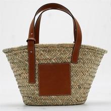 6ce87c6c34 High-capacity straw Women Bag Summer Rattan shoulder Handbags Handmade  Woven Beach Bags new lady