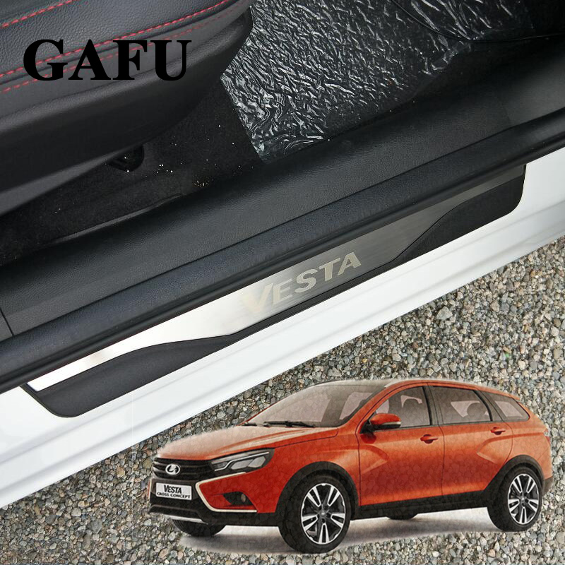 цены For Lada Vesta door sill stainless steel 4pcs/set Lada car accessories car-styling 2018 2017