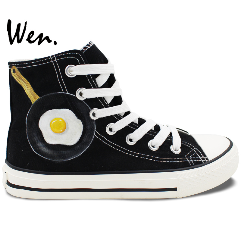 c507a6e960e7 Wen Hand Painted Shoes Design Custom Poached Egg Men Women s High Top Black  Canvas Sneakers for Christmas Gifts