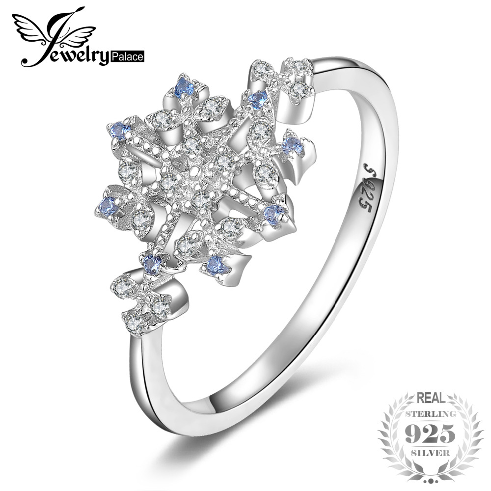 JewelryPalace Winter Love Created Light Blue Spinel Cubic Zirconia Snowflake Promise Ring 925 Sterling Silver Hot Trendy JewelryJewelryPalace Winter Love Created Light Blue Spinel Cubic Zirconia Snowflake Promise Ring 925 Sterling Silver Hot Trendy Jewelry