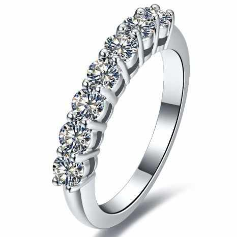 0.7Ct Đáng Yêu Wedding Bands Kim Cương Tổng Hợp Engagement Ring Bảy Stones Chính Hãng 925 Sterling Silver Bạc Trắng Vòng Màu Vàng