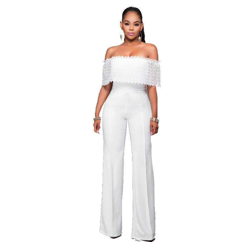 African Women Clothing Elegant Lace Hollow Out Ruffle Off the Shoulder  Slash Neck White Casual Party 375e89035128
