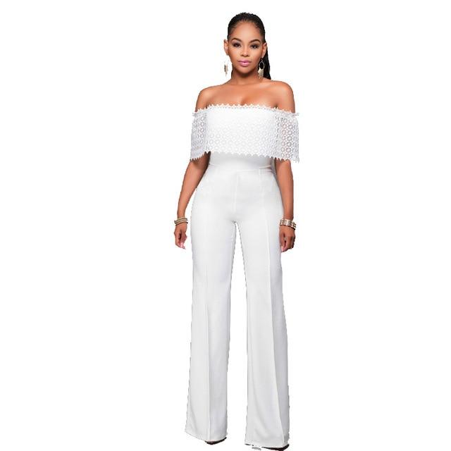 1e494858e African Women Clothing Elegant Lace Hollow Out Ruffle Off the Shoulder  Slash Neck White Casual Party Long Pants Romper Jumpsuit