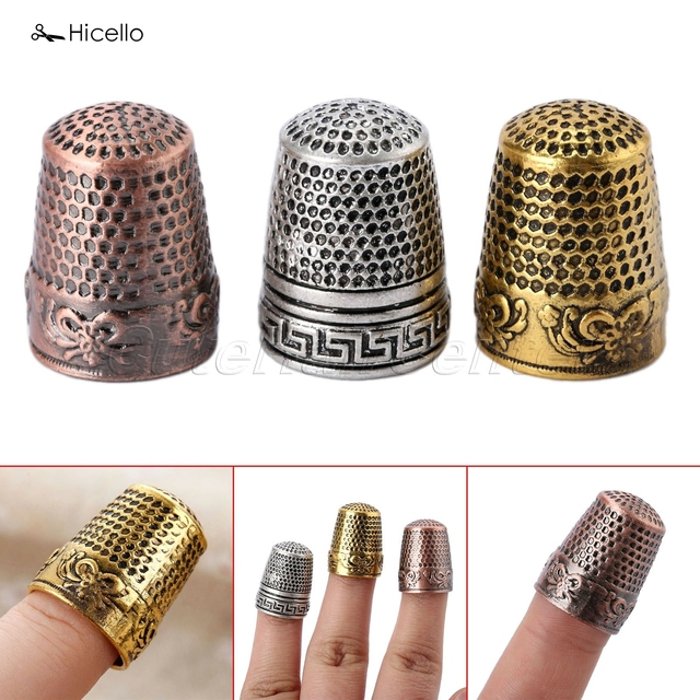 "Hicello 1 pc דפוס קלאסי מתכת קשה מגן אצבע אצבעון אצבעון תפירת כלי תפירת מחטי costura שותף 2.3 ס""מ"
