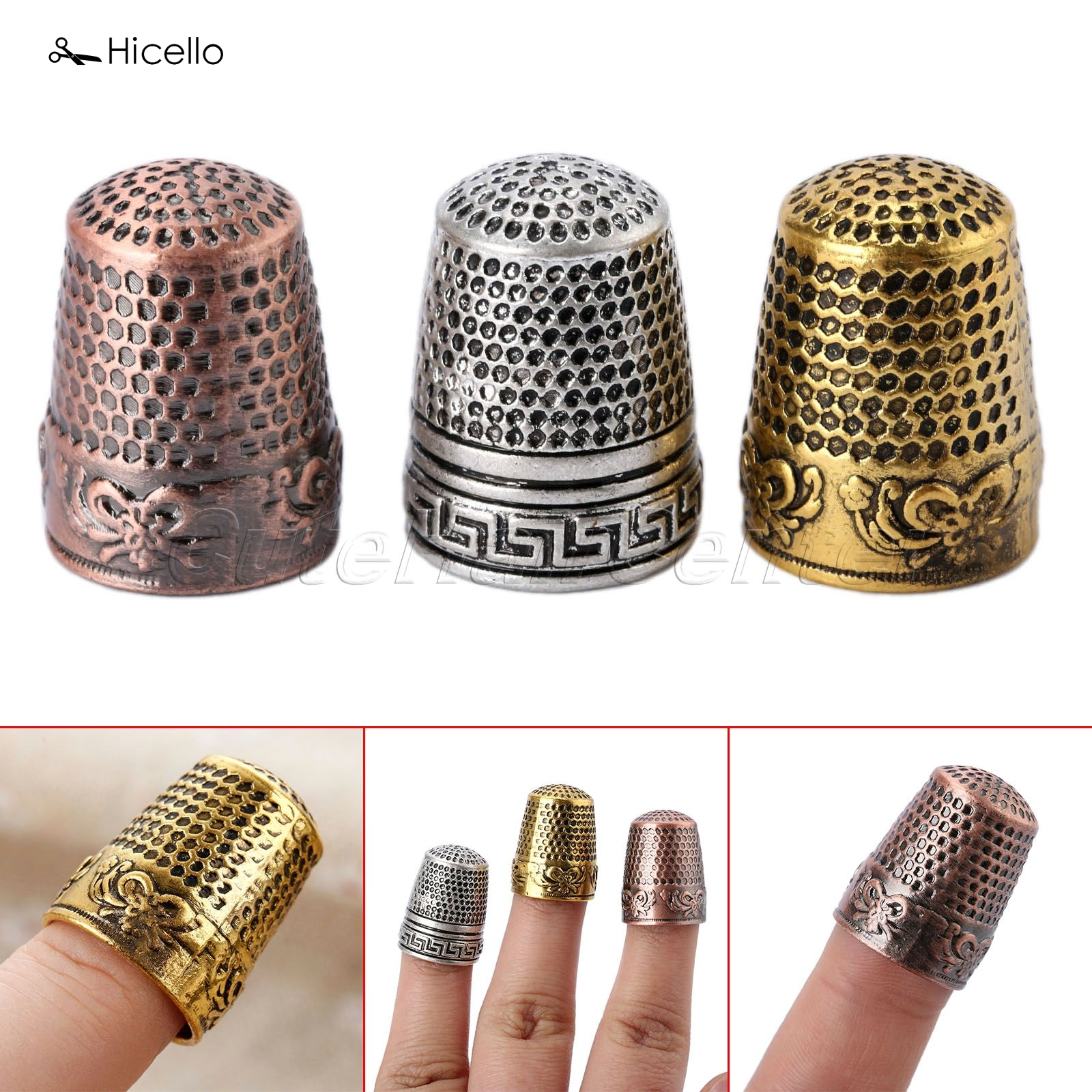 Hicello 1pc Sewing Thimble Finger Protector Classical Pattern Hard Metal Thimble Sewing Tools Needles Partner costura 2.3cm