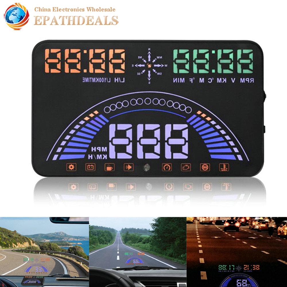 ФОТО 5.8 inch Big Screen S7 Auto Car Hud Head Up Display OBD Vehicle Speed Alarm Warning Fuel consumption KM/H MPH for Safty Driving