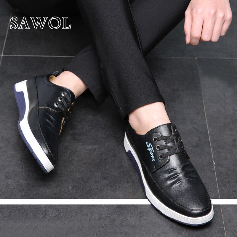 Marque Véritable blue Plus En Hommes Grande Black Chaussures Décontractées À Lacets Printemps Cuir Taille Sneakers Automne brown Appartements Split Sawol N0yvwO8nm