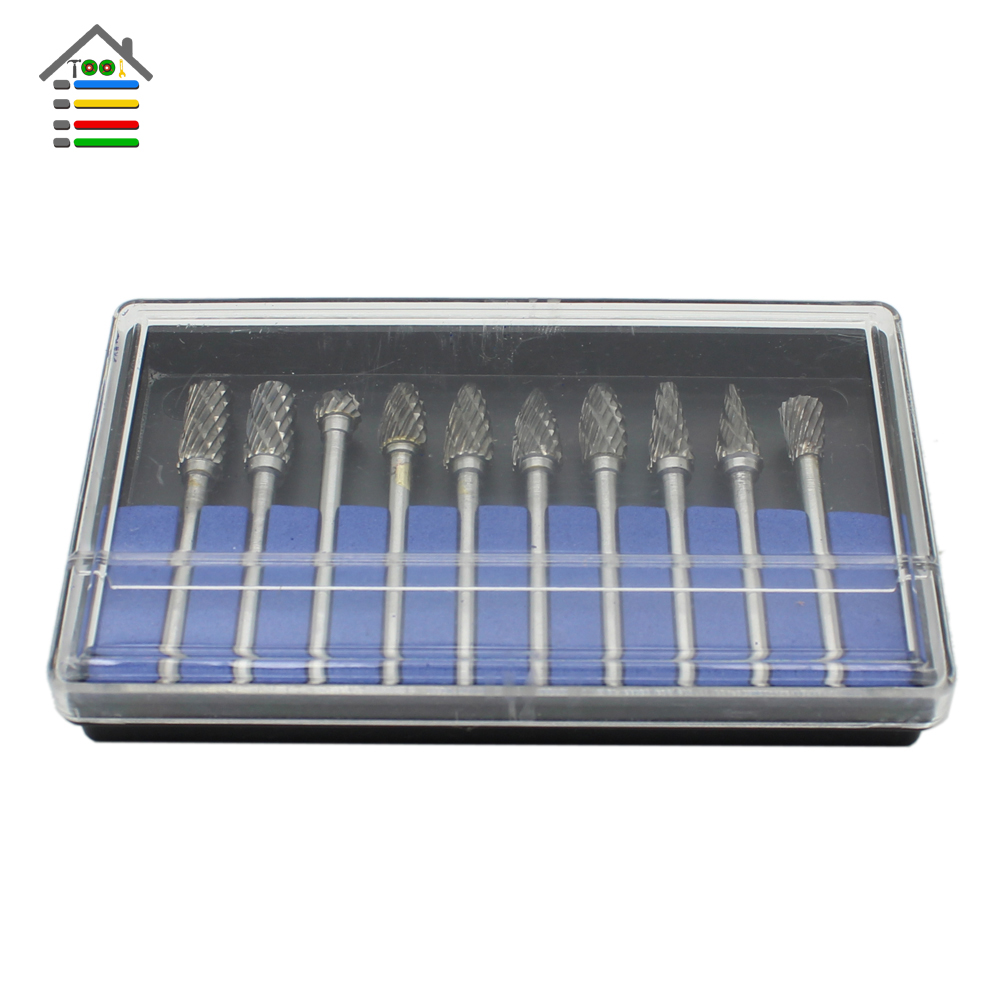 AUTOTOOLHOME 10pc Tungsten Carbide Rotary Burrs Tool Set for Dremel Accessories Milling Cutter Router Drill Bit Engraving Bits 1pc 3mm tungsten steel drill bit titanium coat carbide end mill engraving bits cnc pcb rotary burrs milling cutter best price